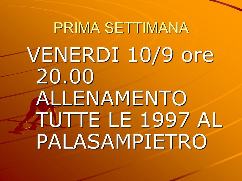 VENERDI 10/9 ore 20.00 ALLENAMENTO TUTTE LE 1997 AL PALASAMPIETRO
