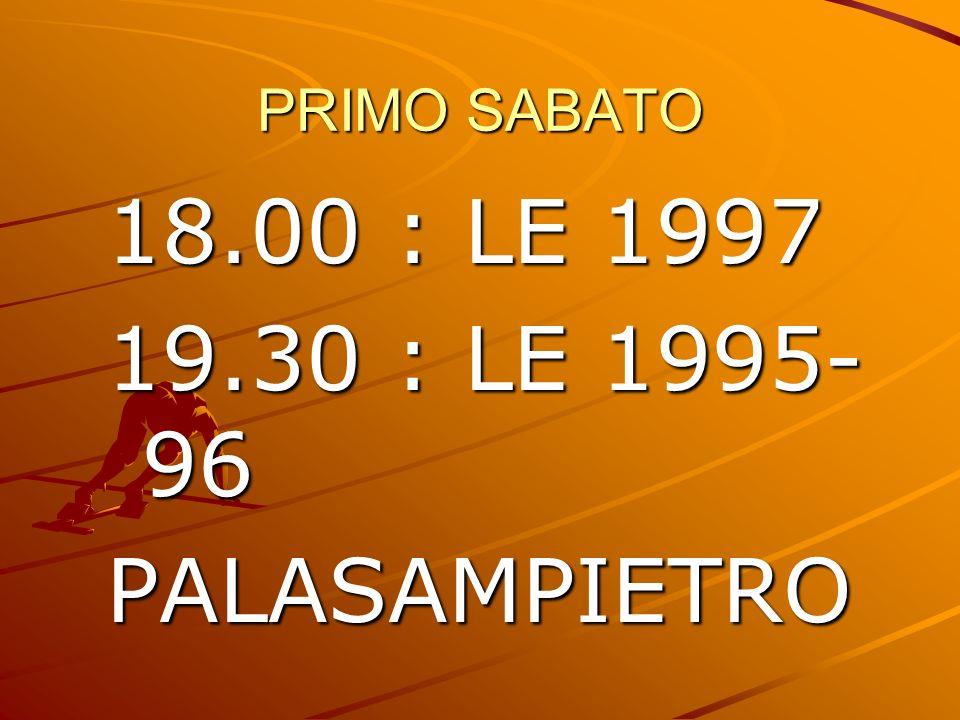 PRIMO SABATO 18.00 : LE 1997 19.30 : LE 1995-96 PALASAMPIETRO
