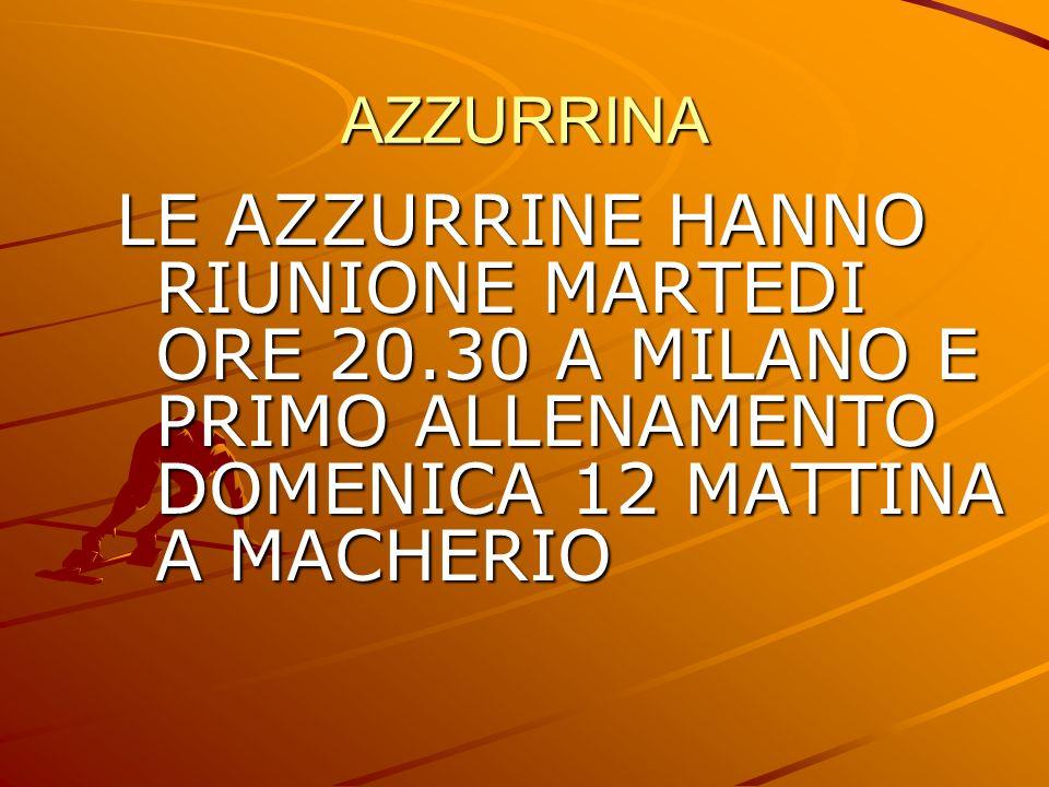 AZZURRINA LE AZZURRINE HANNO RIUNIONE MARTEDI ORE 20.30 A MILANO E PRIMO ALLENAMENTO DOMENICA 12 MATTINA A MACHERIO.