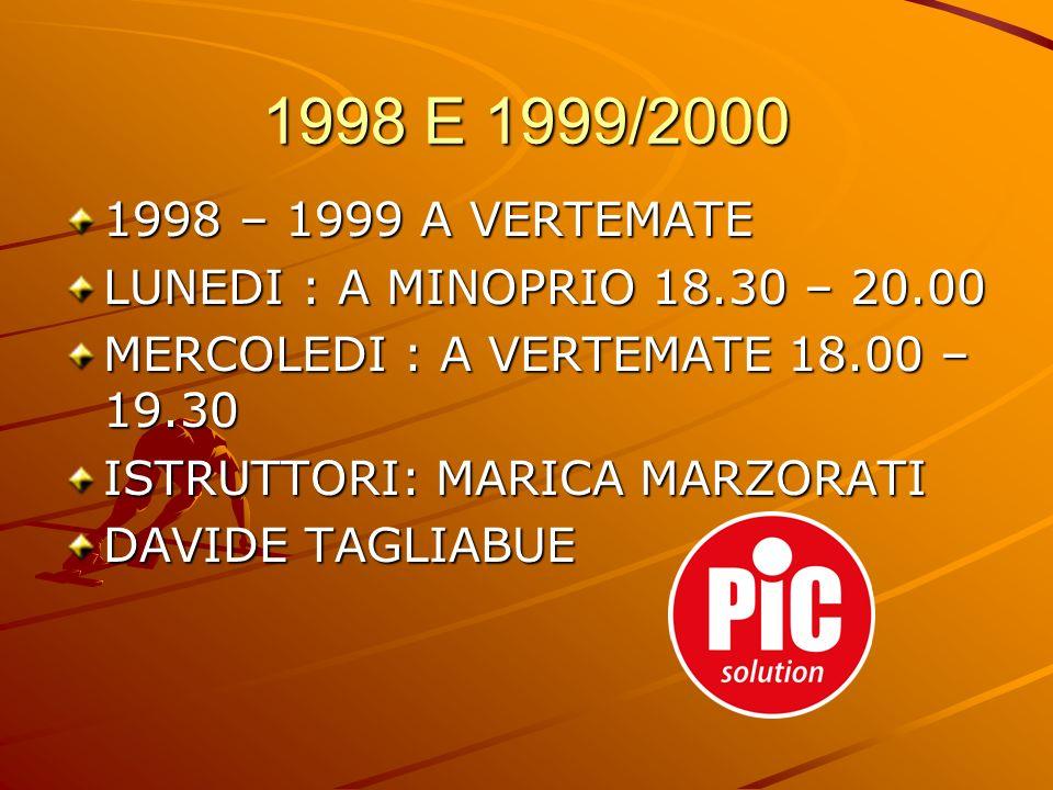 1998 E 1999/2000 1998 – 1999 A VERTEMATE. LUNEDI : A MINOPRIO 18.30 – 20.00. MERCOLEDI : A VERTEMATE 18.00 – 19.30.