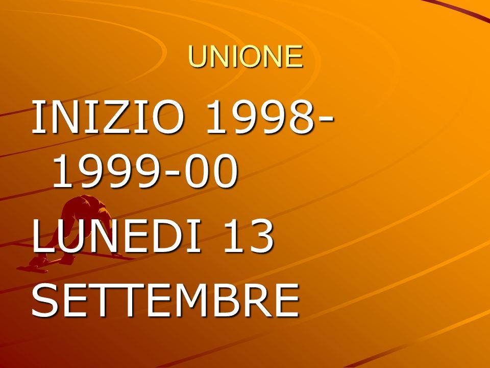UNIONE INIZIO 1998-1999-00 LUNEDI 13 SETTEMBRE