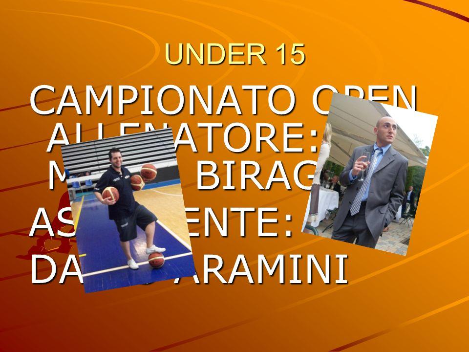 CAMPIONATO OPEN ALLENATORE: MARIO BIRAGHI ASSISTENTE: DARIO ARAMINI