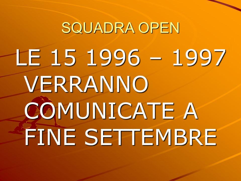 LE 15 1996 – 1997 VERRANNO COMUNICATE A FINE SETTEMBRE