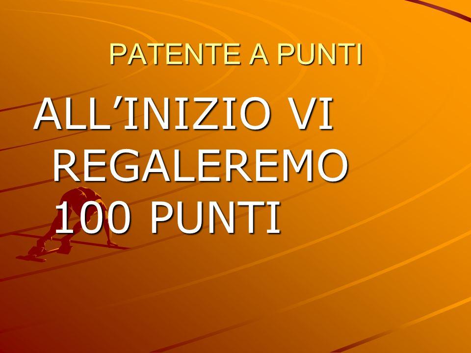 ALL'INIZIO VI REGALEREMO 100 PUNTI