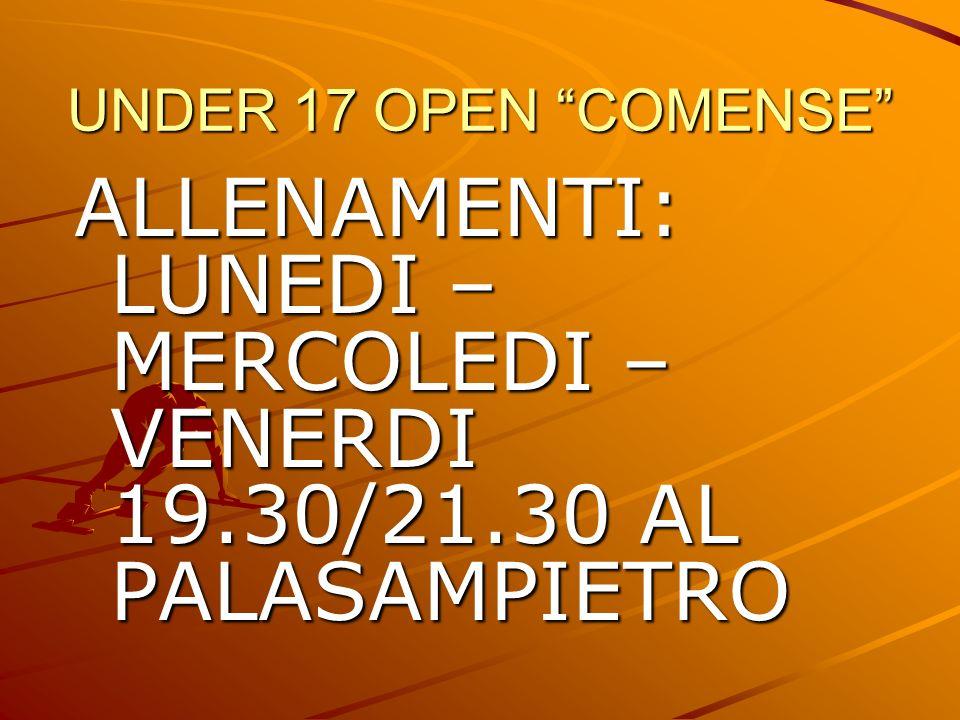 ALLENAMENTI: LUNEDI – MERCOLEDI – VENERDI 19.30/21.30 AL PALASAMPIETRO