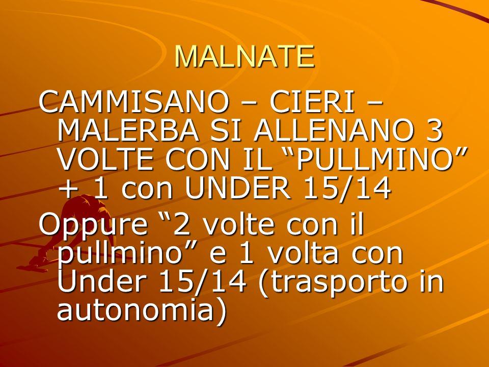 MALNATE CAMMISANO – CIERI – MALERBA SI ALLENANO 3 VOLTE CON IL PULLMINO + 1 con UNDER 15/14.