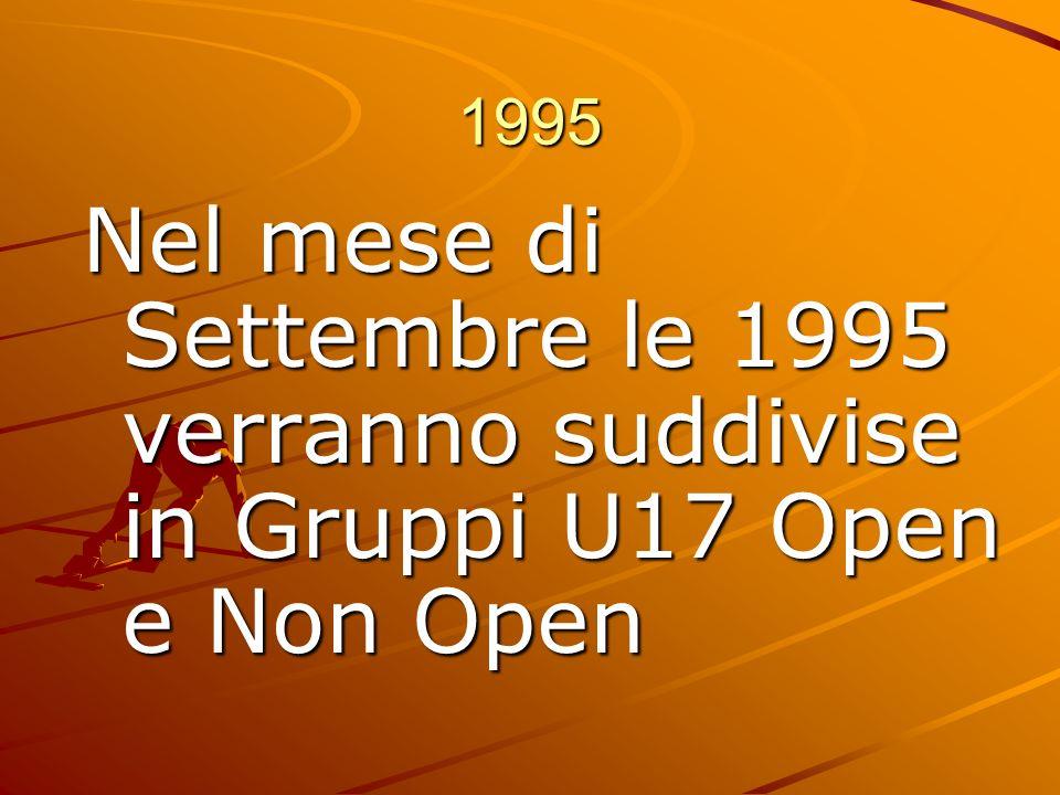1995 Nel mese di Settembre le 1995 verranno suddivise in Gruppi U17 Open e Non Open