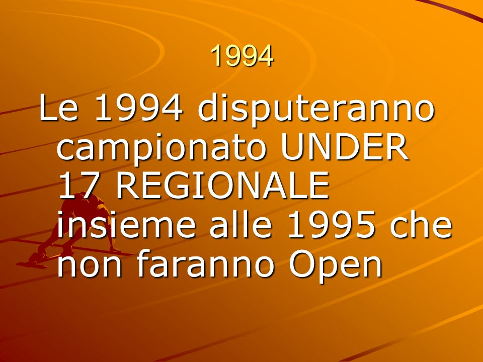 1994 Le 1994 disputeranno campionato UNDER 17 REGIONALE insieme alle 1995 che non faranno Open