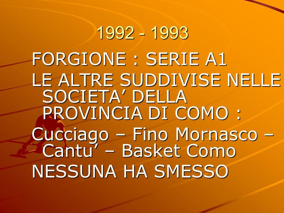 1992 - 1993 FORGIONE : SERIE A1. LE ALTRE SUDDIVISE NELLE SOCIETA' DELLA PROVINCIA DI COMO : Cucciago – Fino Mornasco – Cantu' – Basket Como.