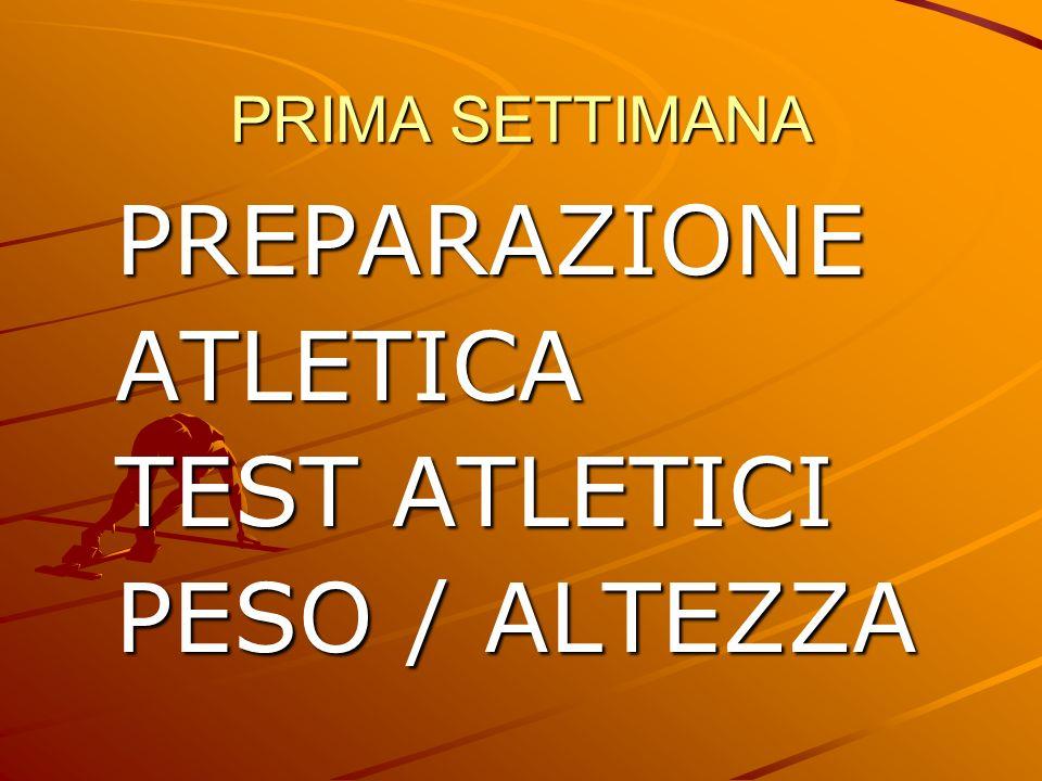 PRIMA SETTIMANA PREPARAZIONE ATLETICA TEST ATLETICI PESO / ALTEZZA