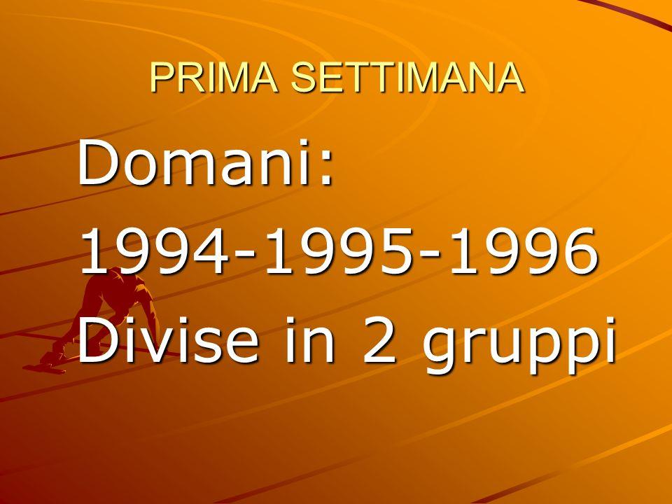PRIMA SETTIMANA Domani: 1994-1995-1996 Divise in 2 gruppi