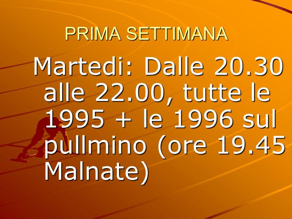 PRIMA SETTIMANA Martedi: Dalle 20.30 alle 22.00, tutte le 1995 + le 1996 sul pullmino (ore 19.45 Malnate)