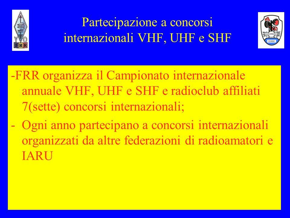 Partecipazione a concorsi internazionali VHF, UHF e SHF