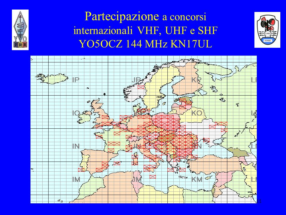 Partecipazione a concorsi internazionali VHF, UHF e SHF YO5OCZ 144 MHz KN17UL