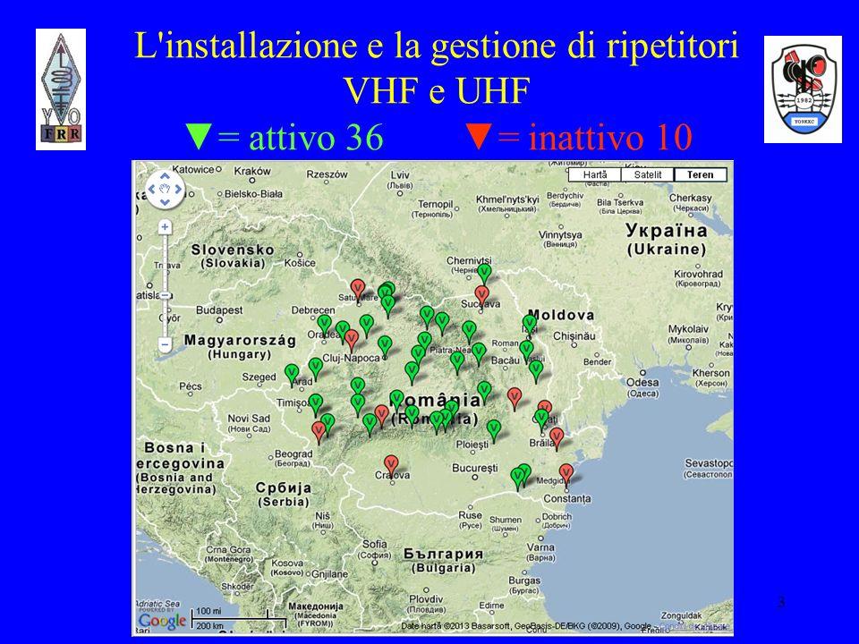 L installazione e la gestione di ripetitori VHF e UHF ▼= attivo 36 ▼= inattivo 10