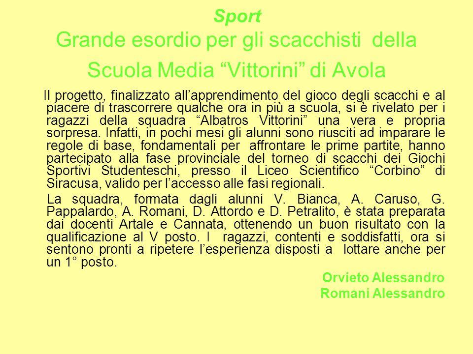 Sport Grande esordio per gli scacchisti della Scuola Media Vittorini di Avola
