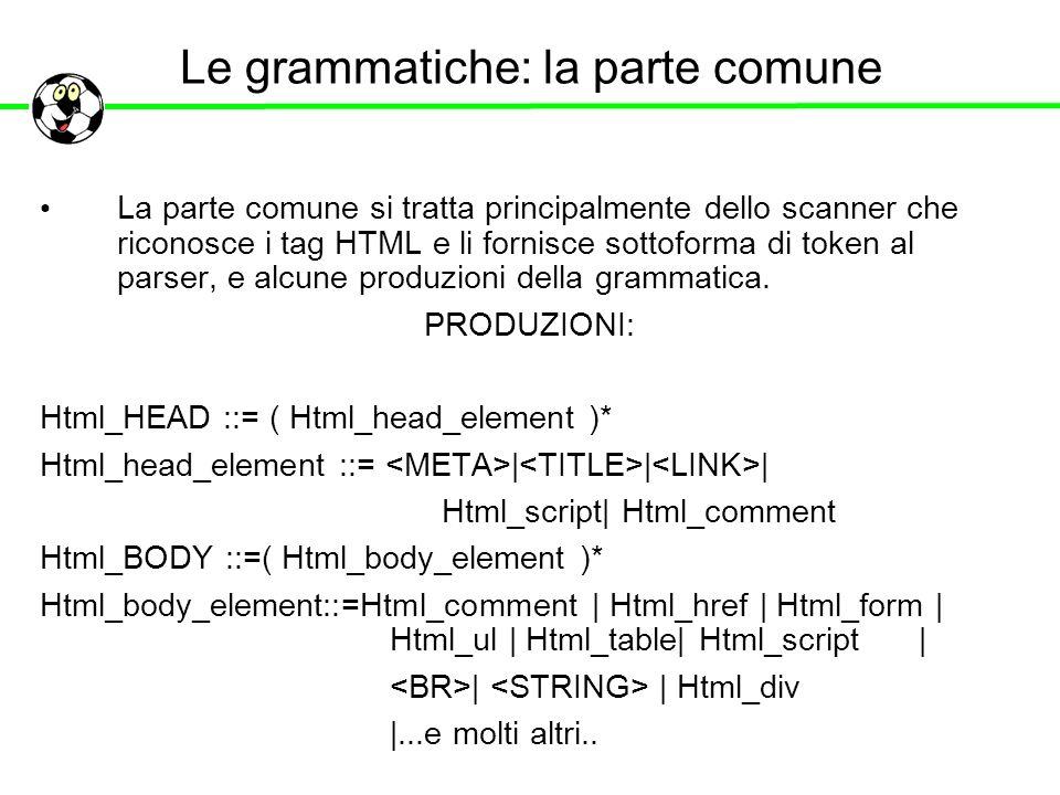 Le grammatiche: la parte comune