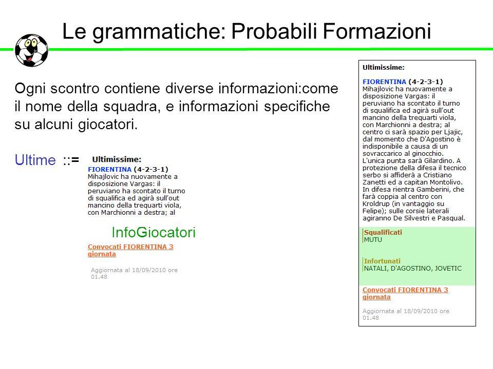 Le grammatiche: Probabili Formazioni