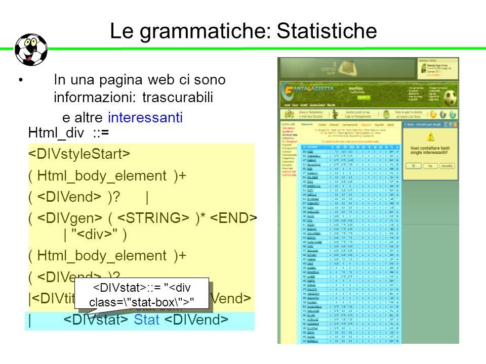 Le grammatiche: Statistiche