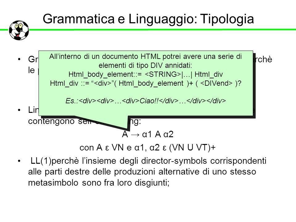 Grammatica e Linguaggio: Tipologia