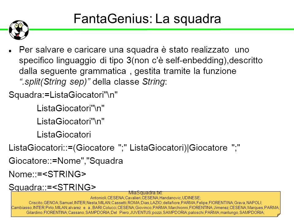 FantaGenius: La squadra