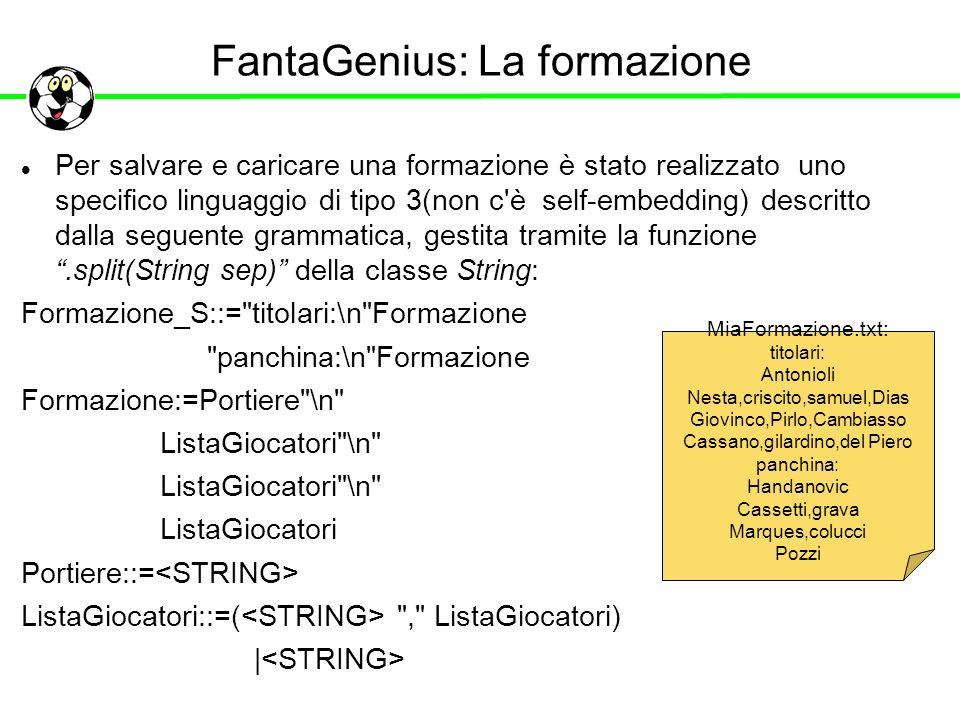FantaGenius: La formazione