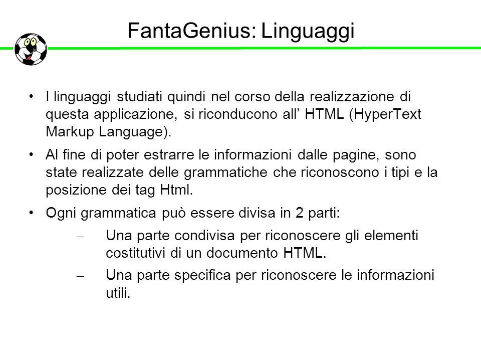 FantaGenius: Linguaggi