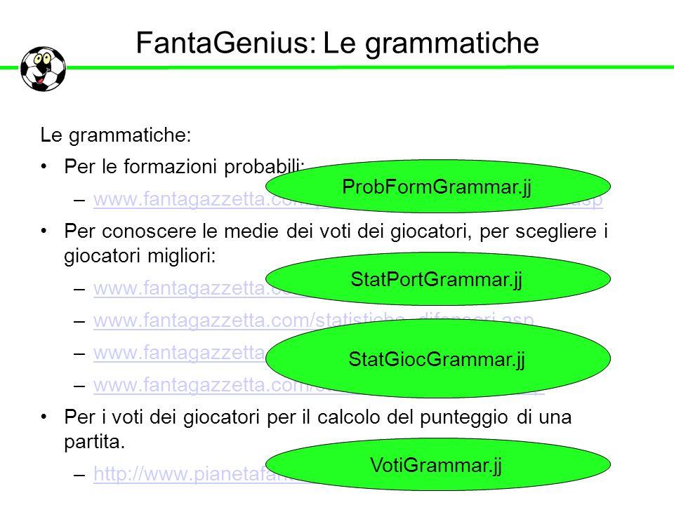 FantaGenius: Le grammatiche