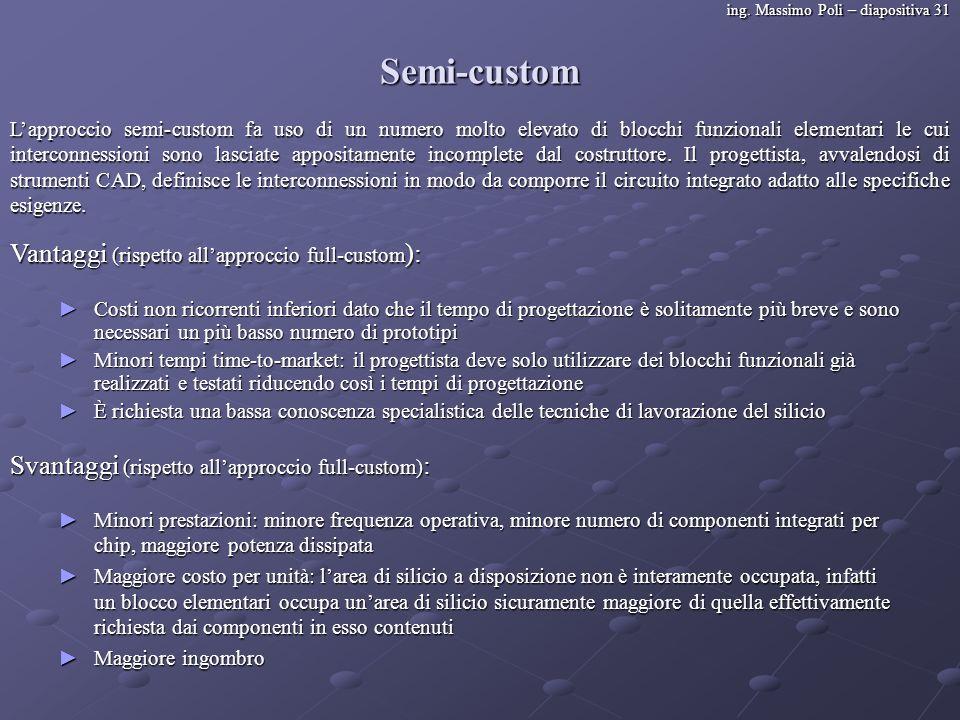 Semi-custom Vantaggi (rispetto all'approccio full-custom):