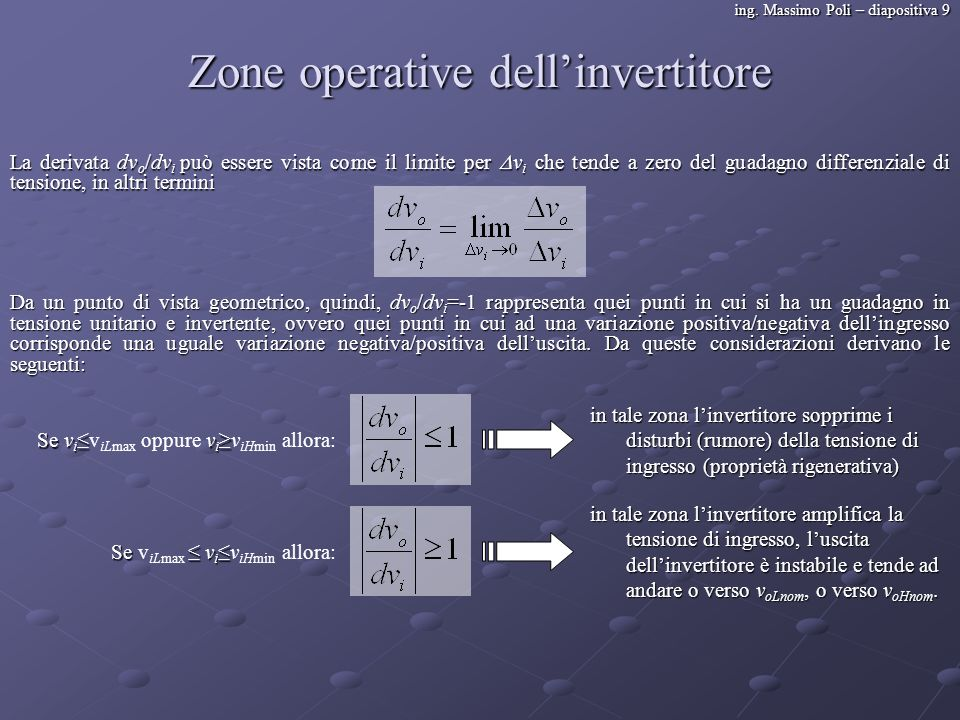 Zone operative dell'invertitore