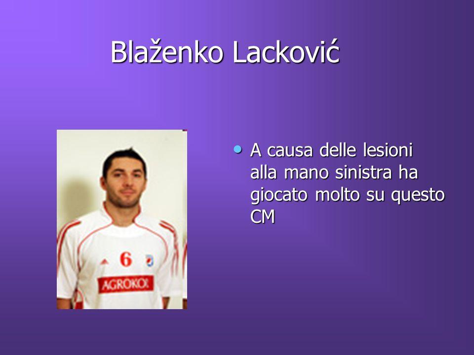 Blaženko Lacković A causa delle lesioni alla mano sinistra ha giocato molto su questo CM