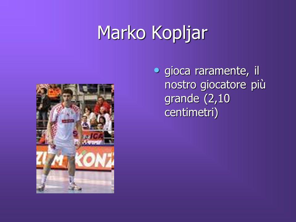 Marko Kopljar gioca raramente, il nostro giocatore più grande (2,10 centimetri)