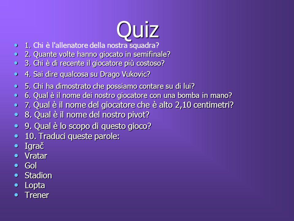 Quiz 8. Qual è il nome del nostro pivot