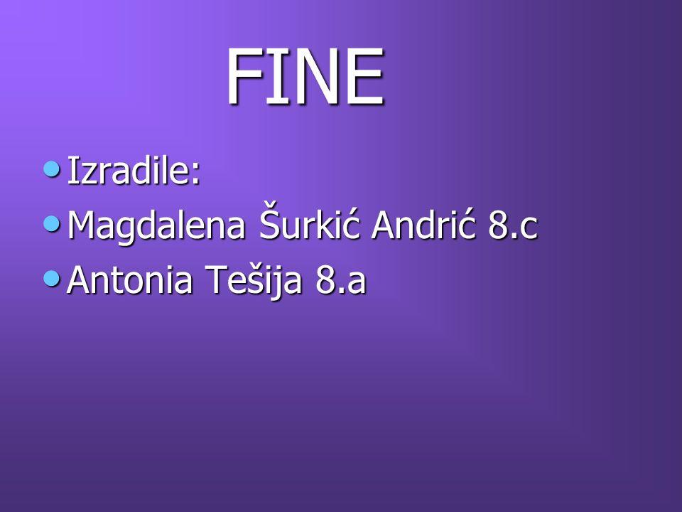 FINE Izradile: Magdalena Šurkić Andrić 8.c Antonia Tešija 8.a