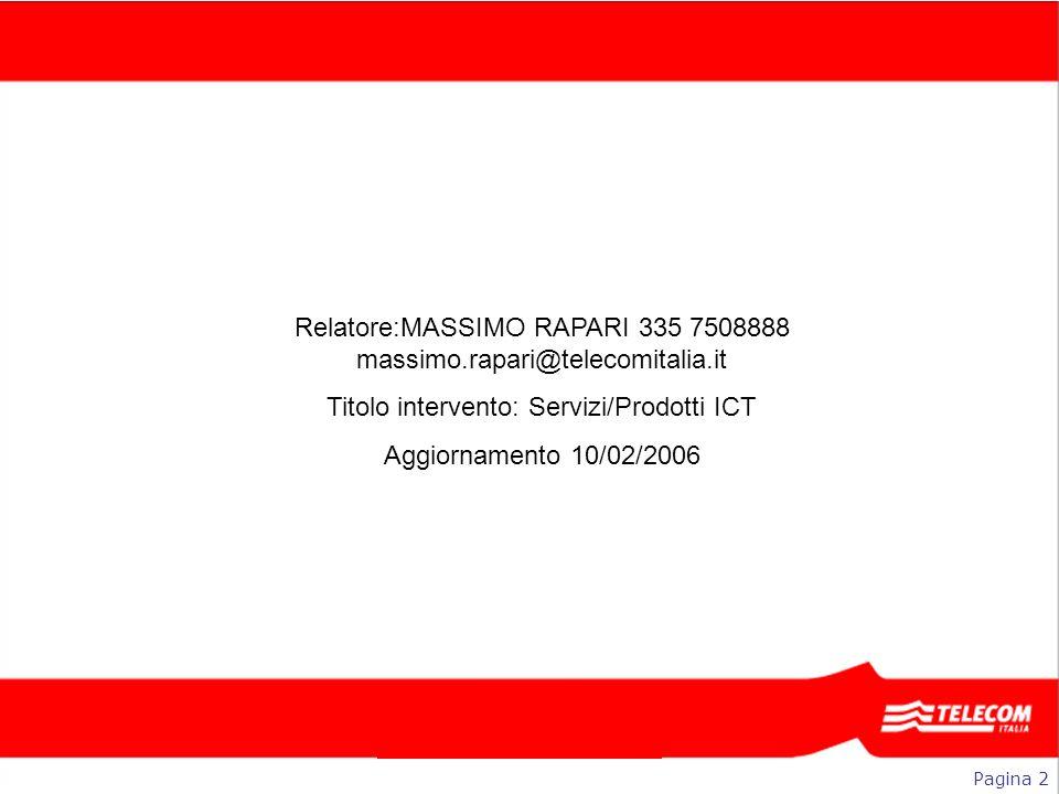 Relatore:MASSIMO RAPARI 335 7508888 massimo.rapari@telecomitalia.it