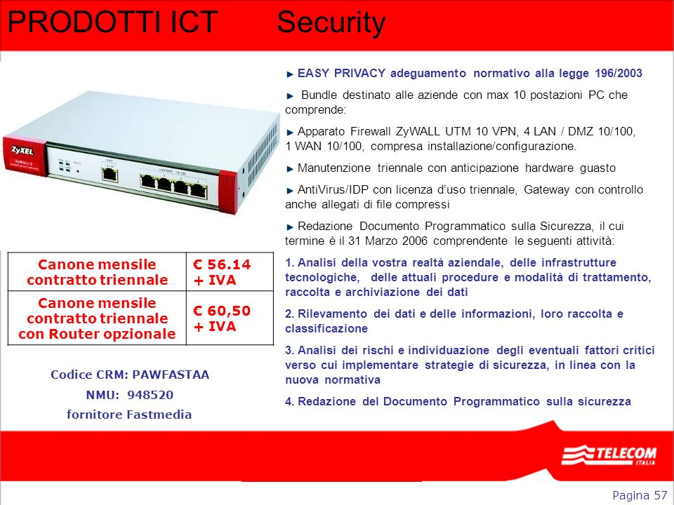 PRODOTTI ICT Security Canone mensile contratto triennale € 56.14 + IVA