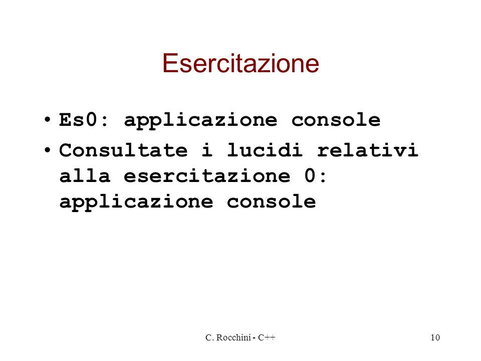 Esercitazione Es0: applicazione console