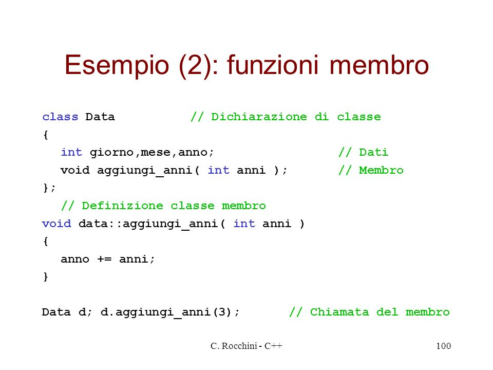 Esempio (2): funzioni membro