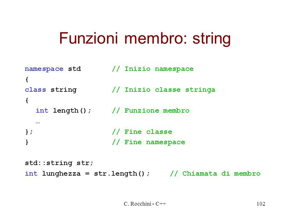 Funzioni membro: string