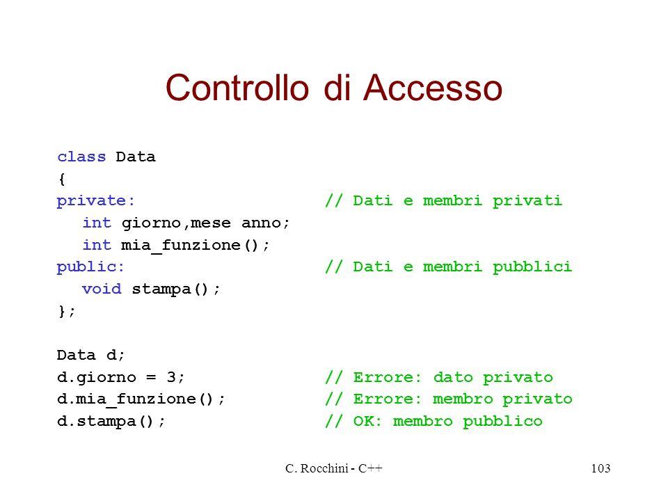 Controllo di Accesso class Data { private: // Dati e membri privati