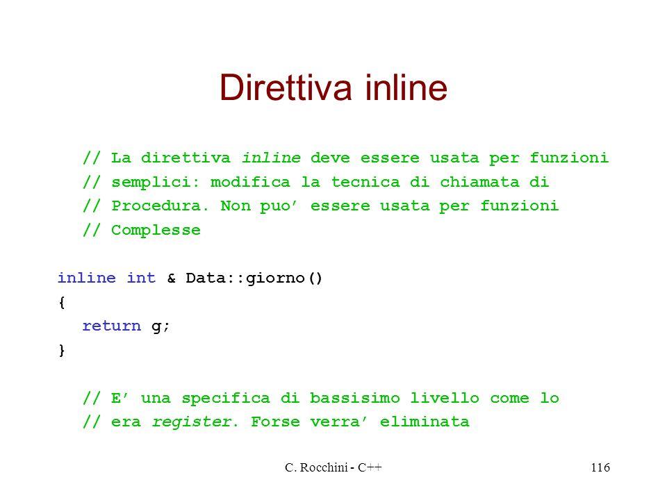 Direttiva inline // La direttiva inline deve essere usata per funzioni