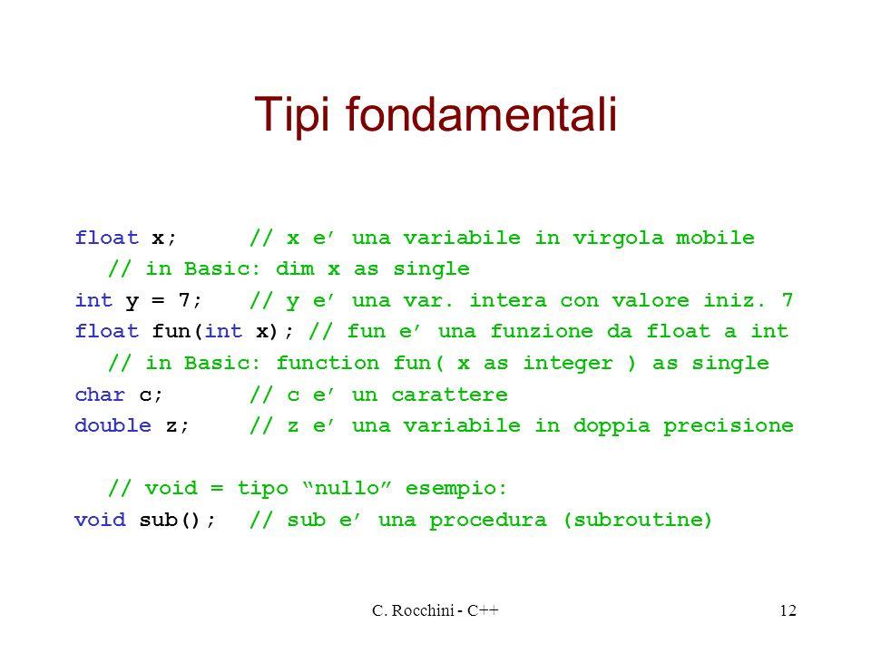 Tipi fondamentali float x; // x e' una variabile in virgola mobile
