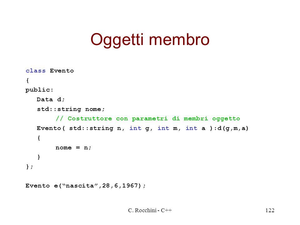 Oggetti membro class Evento { public: Data d; std::string nome;