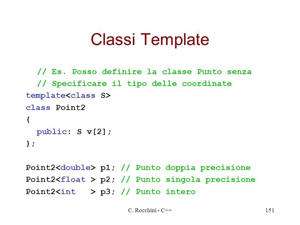 Classi Template // Es. Posso definire la classe Punto senza