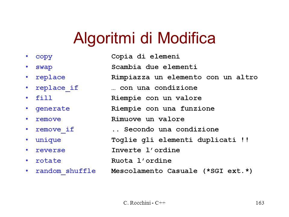 Algoritmi di Modifica copy Copia di elemeni swap Scambia due elementi
