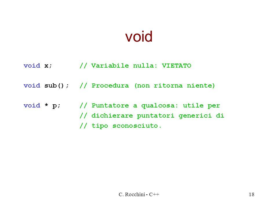 void void x; // Variabile nulla: VIETATO