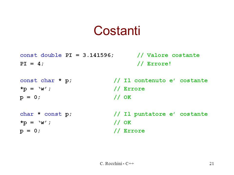 Costanti const double PI = 3.141596; // Valore costante