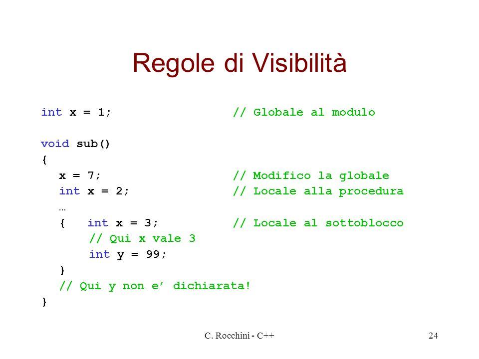 Regole di Visibilità int x = 1; // Globale al modulo void sub() {