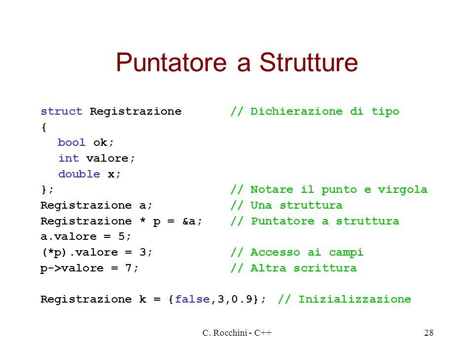 Puntatore a Strutture struct Registrazione // Dichierazione di tipo {