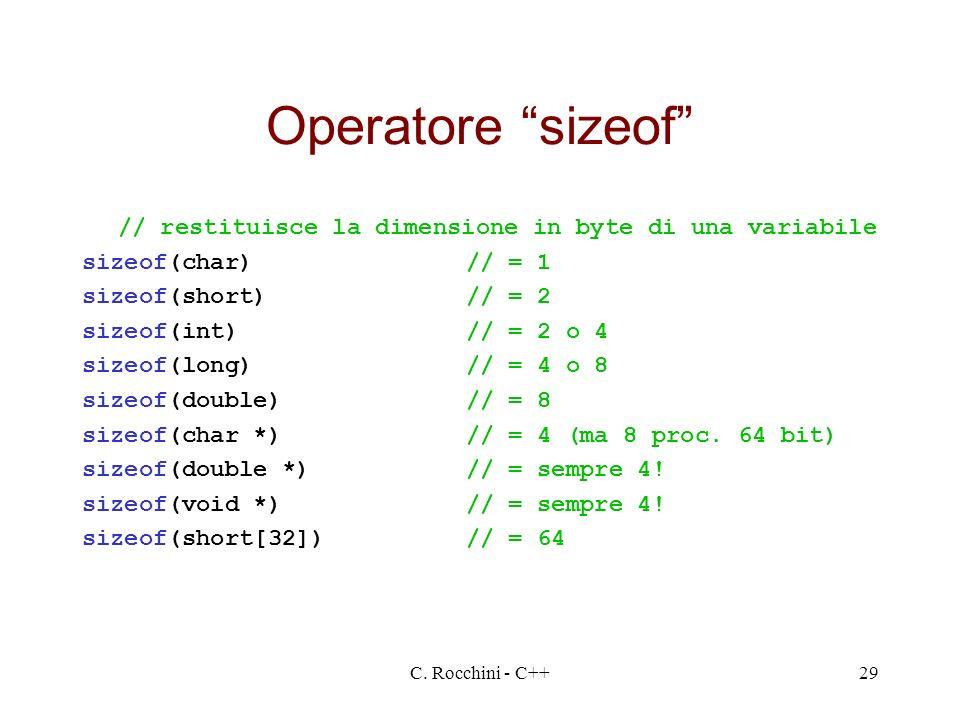 Operatore sizeof // restituisce la dimensione in byte di una variabile. sizeof(char) // = 1. sizeof(short) // = 2.